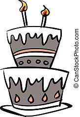 beau, croquis, couleur, bougies, illustration, dessin, incandescent, vecteur, gâteau, ou, célébration