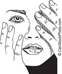 beau, croquis, femme, face., illustration, vecteur