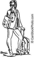 beau, croquis, femme, voyage, jeune, illustration, vecteur, bag.