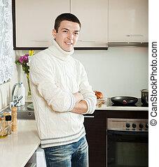 beau, cuisine, homme