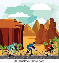 beau, cyclisme, d, isolé, course, fond, paysage, icône
