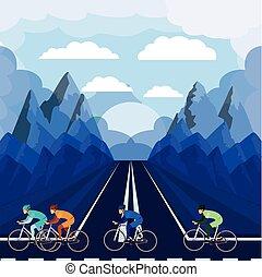 beau, cyclisme, isolé, course, fond, paysage, icône