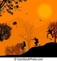 beau, cycliste, silhouettes, skateboarder, paysage