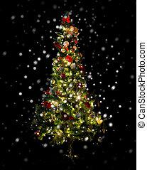 beau, décoré, arbre, éclairé, noël