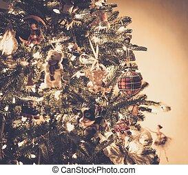 beau, décoré, arbre, noël