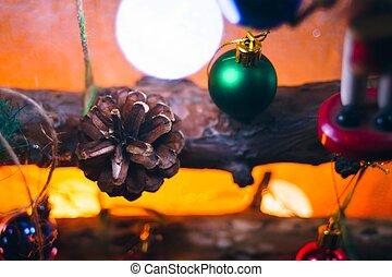 beau, décoré, arbre., noël