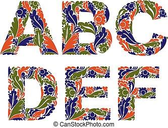 beau, décoratif, d, lettres, c, b, vendange, pattern., a, police, floral, e, f.