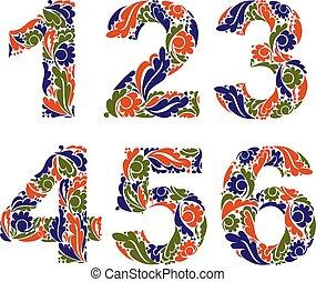 beau, décoratif, floral, vendange, pattern., chiffres, 6., automne, 5, nombres, saisonnier, 3, 2, 1, 4