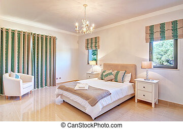 beau, décoratif, green., nuances, bedroom.