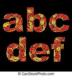 beau, décoratif, minuscule, lettres, c, b, vendange, pattern., a, d, floral, police, orange, e, f.