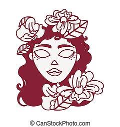 beau, décoration florale, tête, femme