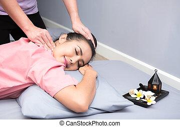 beau, délassant, sain, masage, aromathérapie, spa, thaï, femmes