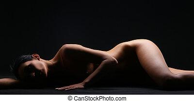 beau, dénudée, corps