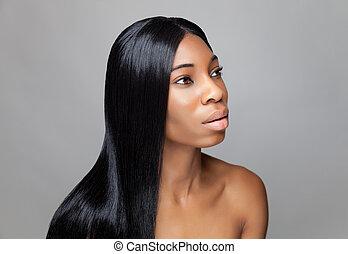 beau, dame a peau noire , à, long, cheveux droits