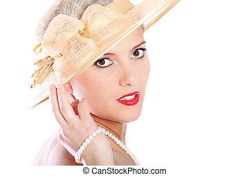beau, dame, chapeau