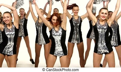 beau, danse, cheerleading, girls:, main, pom-poms