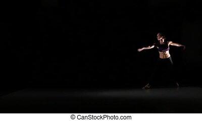 beau, danse lente, mouvement, contemp, fond, noir, ombre, girl