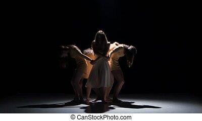 beau, danse, moderne, filles, contemporain, danse, cinq,...