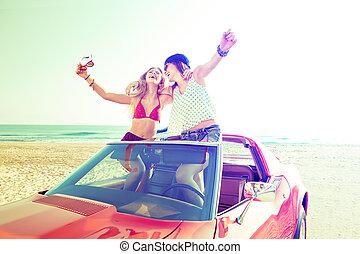 beau, danse, voiture, filles, fête, plage