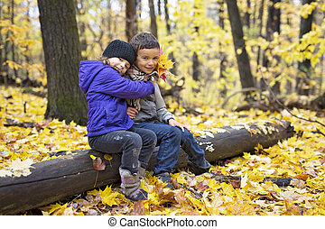 beau, day., ensoleillé, parc, enfants, automne, automne, froid, jouer