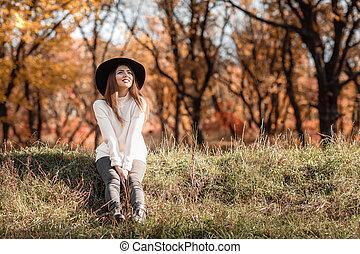beau, day., séance femme, ensoleillé, automne, herbe