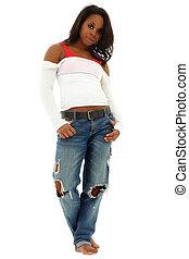 beau, debout, coupure, femme, chemise, jeans déchirés, floor., noir, blanc, path.