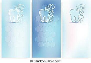 beau, dentaire, fond, symbole, dent