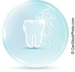 beau, dentaire, symbole, dent, rond, icône