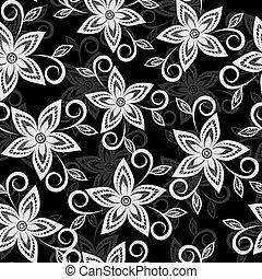 beau, dentelle, cutwork, brodé, arrière-plan., noir, floral, fleurs blanches