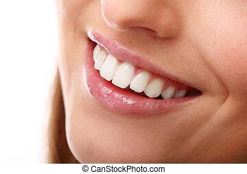 beau, dents parfaites, haut fin, sourire