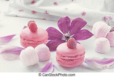 beau, dessert, clematis., foyer, framboises, sélectif, macaronis, fond, guimauves, close-up., fleurs