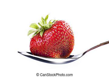 beau, dessert, fond blanc, fraise