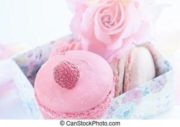 beau, dessert, macarons, roses., framboises, fond, guimauves, close-up., fleurs