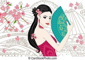 beau, dessiner, chinois, printemps, ventilateur, girl, paysage