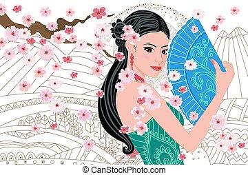 beau, dessiner, chinois, ventilateur, girl, vous, paysage