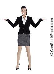 beau, deux, pointage femme, business, espace, streching, mains, vide