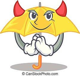 beau, diable, parapluie, caractère, jaune, ouvert