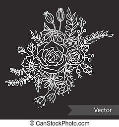 beau, différent, bouquet, arrière-plan., vecteur, noir, monochrome, ligne, fleurs, style., art.