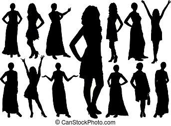 beau, différent, ensemble, filles, poses., silhouettes, vecteur, modèle