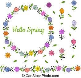 beau, différent, fait, accueillir, coloré, border., printemps, couronne, leaves., seamless, brush., horizontal, fleurs, lettering., interminable