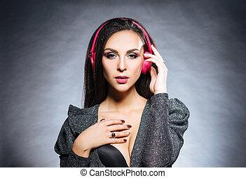 beau, dj, écouteurs, jeune, musique écouter, sexy, girl