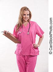 beau, docteur, ouvrier, années vingt, healthcare, infirmière...