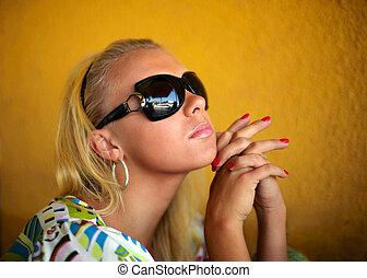 beau, dof., peu profond, jeune, blonds, portrait, woman.