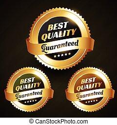 beau, doré, étiquette, vecteur, conception, qualité, mieux