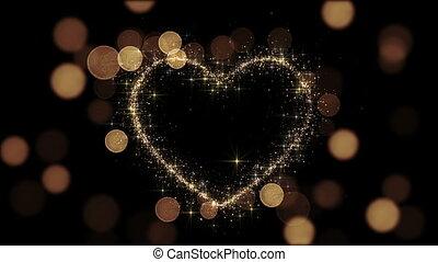 beau, doré, 1080., fait boucle, coeur, étincelles, animation., voler, slow., glittering., hd, 3d