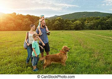 beau, doré, chien, animal favori famille, jeune, leur, retriever