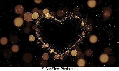 beau, doré, fait, coeur, étincelles, animation., voler, particules, fait boucle, slow.