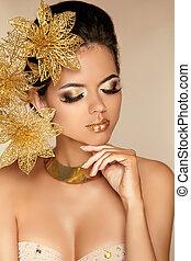 beau, doré, femme, art, beauté, face., flowers., makeup., skin., mode, make-up., parfait, professionnel, girl, modèle