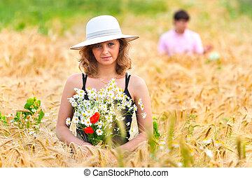 beau, doré, femme, blé, jeune, champ