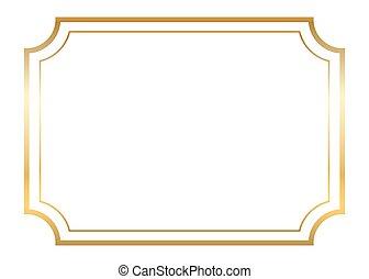 beau, doré, frame., or, simple, conception, blanc